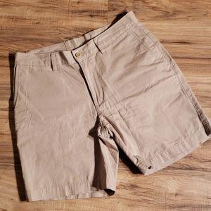 tan Patagonia flat front shorts size 32